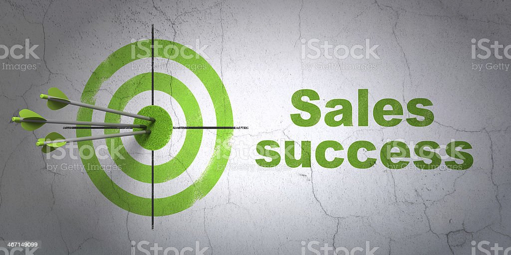 Marketing concept: target and Sales Success on wall background stock photo