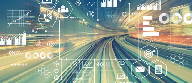 marketingkonzept mit abstrakten high-speed-technologie - hochbahn passagierzug stock-fotos und bilder