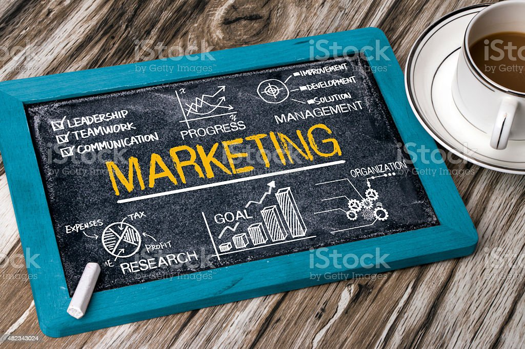 marketing concept with financial elements stock photo