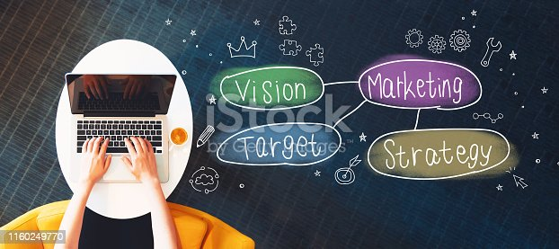 istock Marketing concept with person using a laptop 1160249770