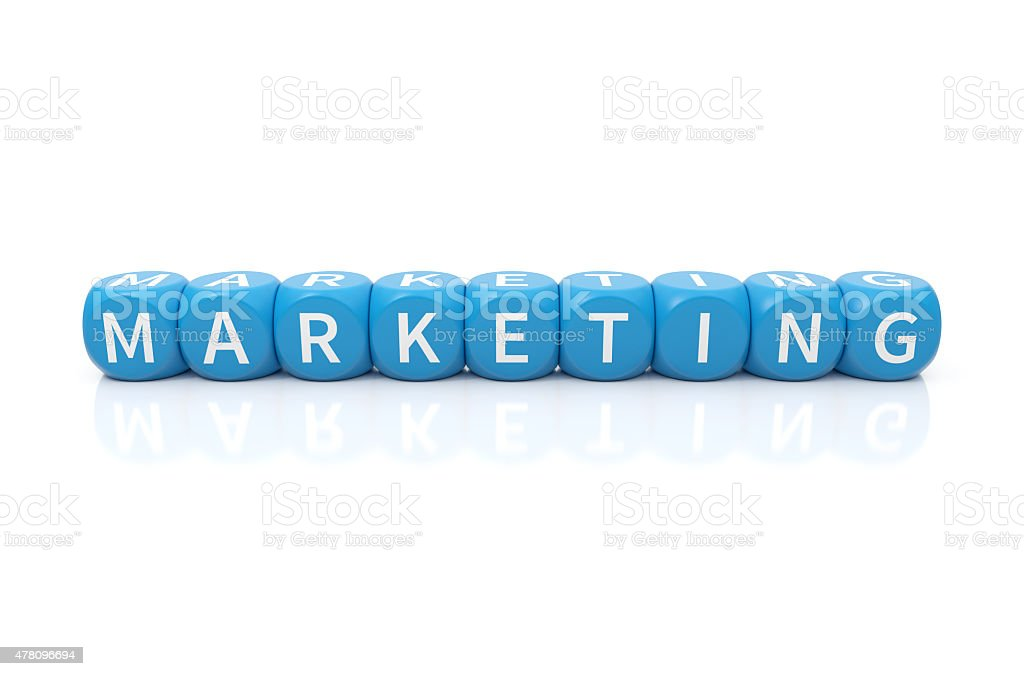 Marketing dices blue stock photo