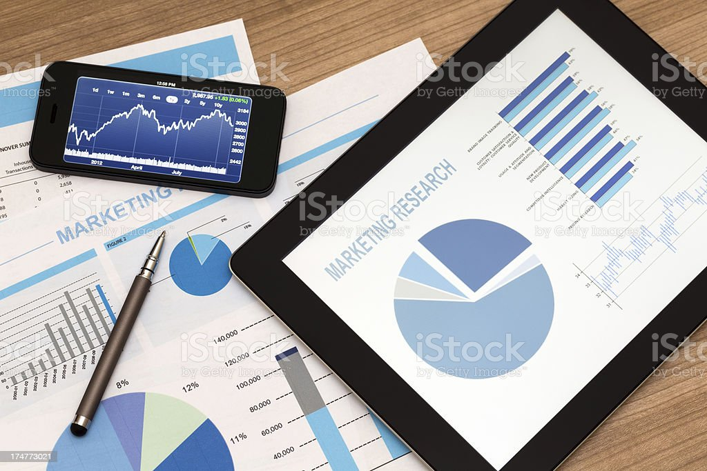 Marketing information on a tablet and phone royalty-free stock photo