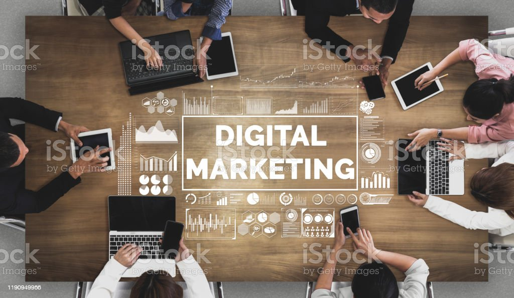Marketing of Digital Technology Business Concept Digital Marketing Technology Solution for Online Business Concept - Graphic interface showing analytic diagram of online market promotion strategy on digital advertising platform via social media. Advertisement Stock Photo