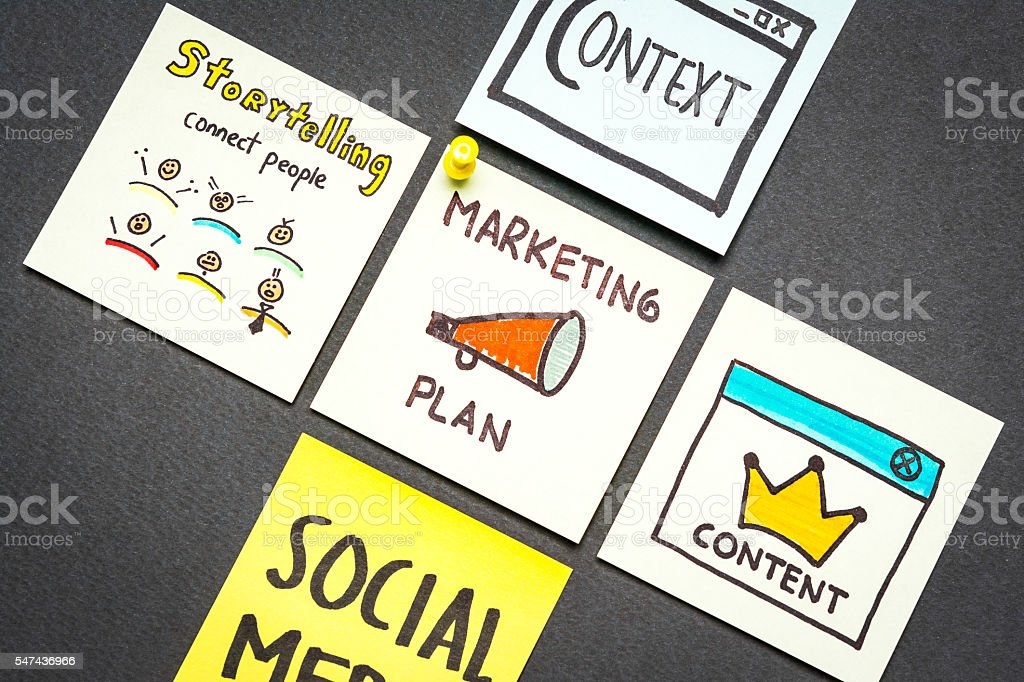 Marketing plan, context, content, storytelling and social media stock photo