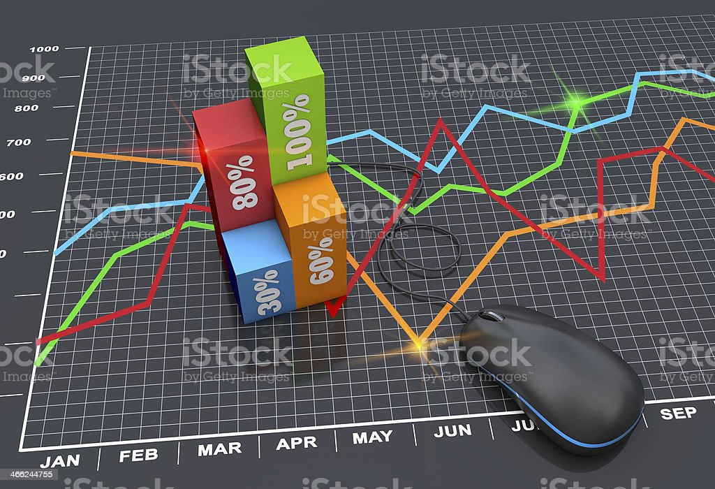Marketing planning using line chart and 3D column chart royalty-free stock photo