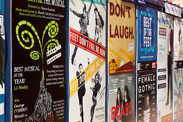 Marketing posters at Edinburgh's fringe festival. stock photo