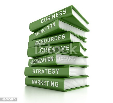 850704072 istock photo Marketing related green books on white 496606974