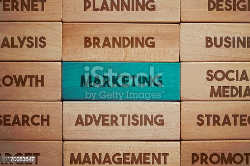 Marketing related words on wooden blocks
