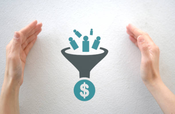 marketing sales funnel chart enclosed by female hands, customer journey from lead to order - sales funnel stock photos and pictures