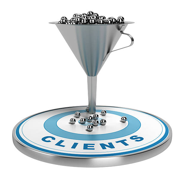 marketing sales or conversion funnel - sales funnel stock photos and pictures