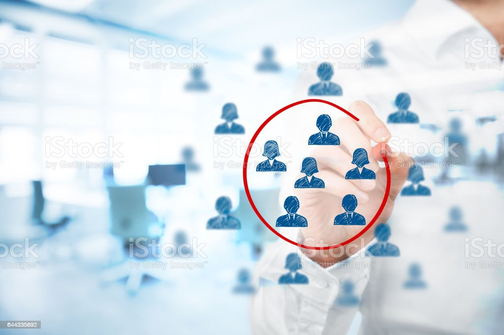 Marketing segmentation, management, target market stock photo