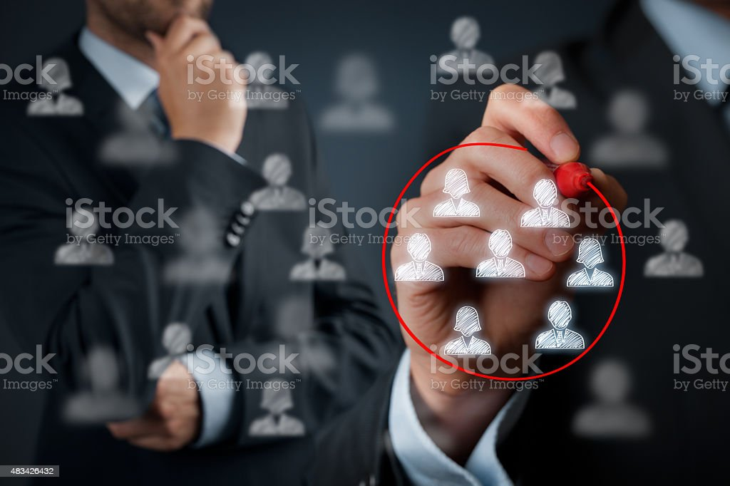 Marketing segmentation Marketing segmentation, target audience, customers care, customer relationship management (CRM) and team building concepts. 2015 Stock Photo