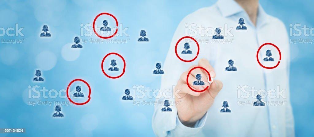 Marketing segmentation, target audience, customer care stock photo