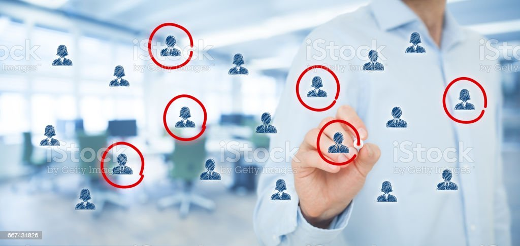 Marketing segmentation, target audience, customer care stock photo