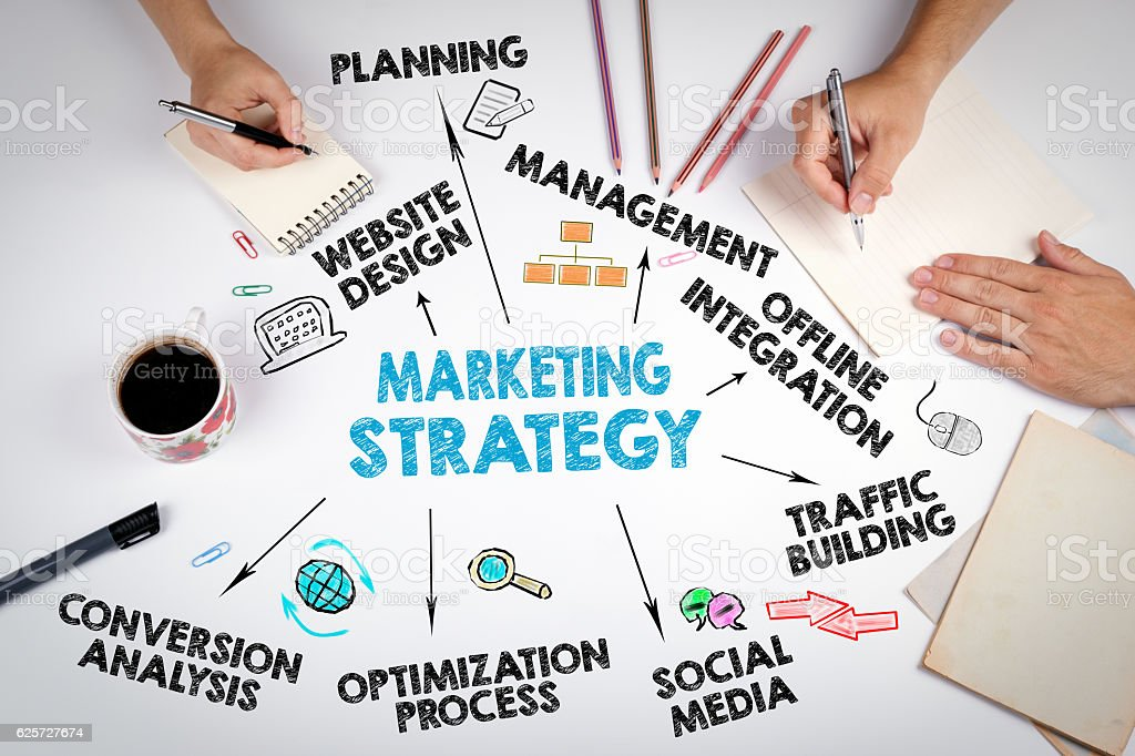 Marketing Strategy Business concept foto de stock libre de derechos