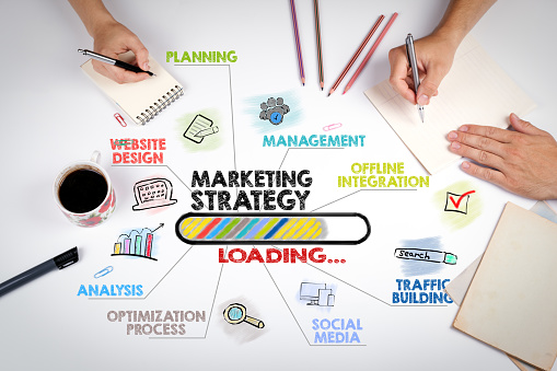 istock marketing strategy Concept. Chart with keywords and icons. The meeting at the white office table 905114726