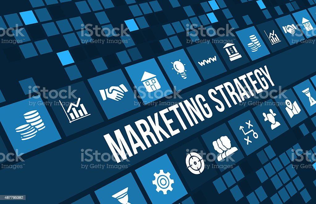 Marketing Strategy concept image with business icons and copyspace. stock photo