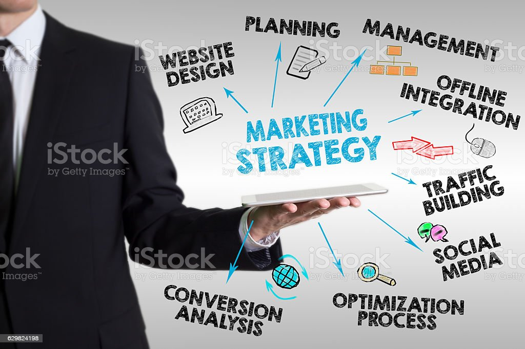 Marketing Strategy concept, young man holding a tablet computer stock photo