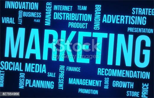 Marketing Word Cloud On Digital Computer Screen