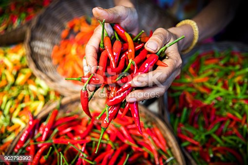 Marketplace: Handful of chillies