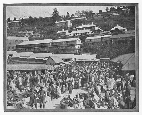 Marketplace in Darjeeling, India during the british era. Vintage halftone circa late 19th century.