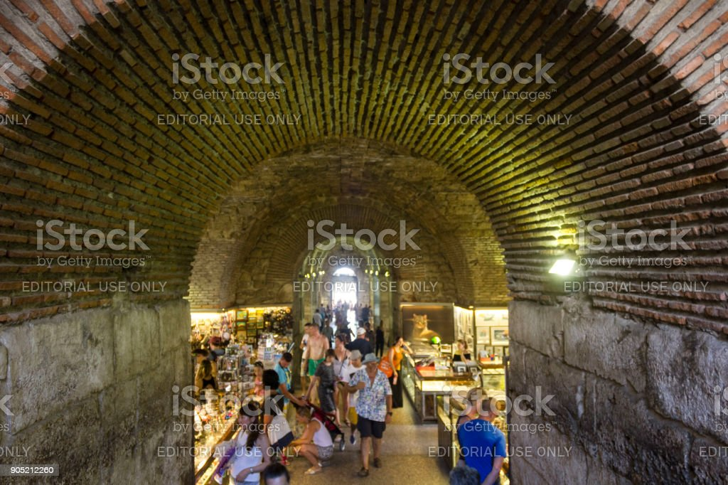 Marketplace in the subterranean of Diocletian Palace in Split stock photo