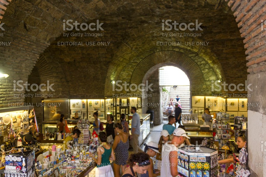 Marketplace in the subterranean of Diocletian Palace in Splitù stock photo