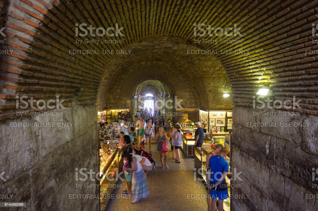 Marketplace in the subterranean of Diocletian Palace stock photo