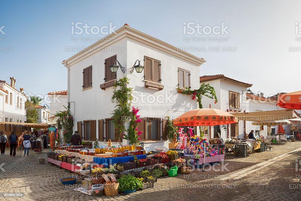 Marketplace of Sigacik, Izmir, Turkey stock photo
