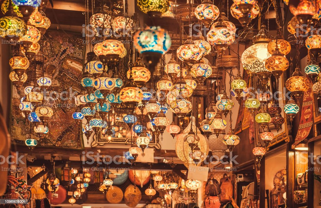 Marketplace with stained glass lamps, colorful oriental craft product in traditional arabic bazaar stock photo