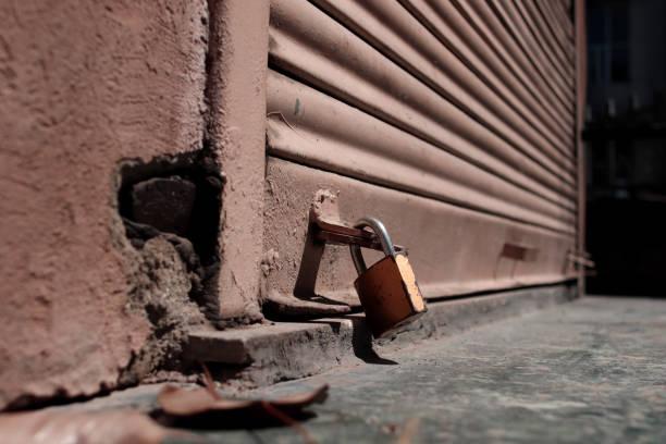 Markets closed during Covid-19, Delhi, India stock photo