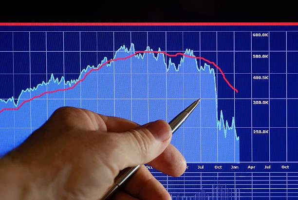 Markets Go Down: Financial Analysis Chart stock photo
