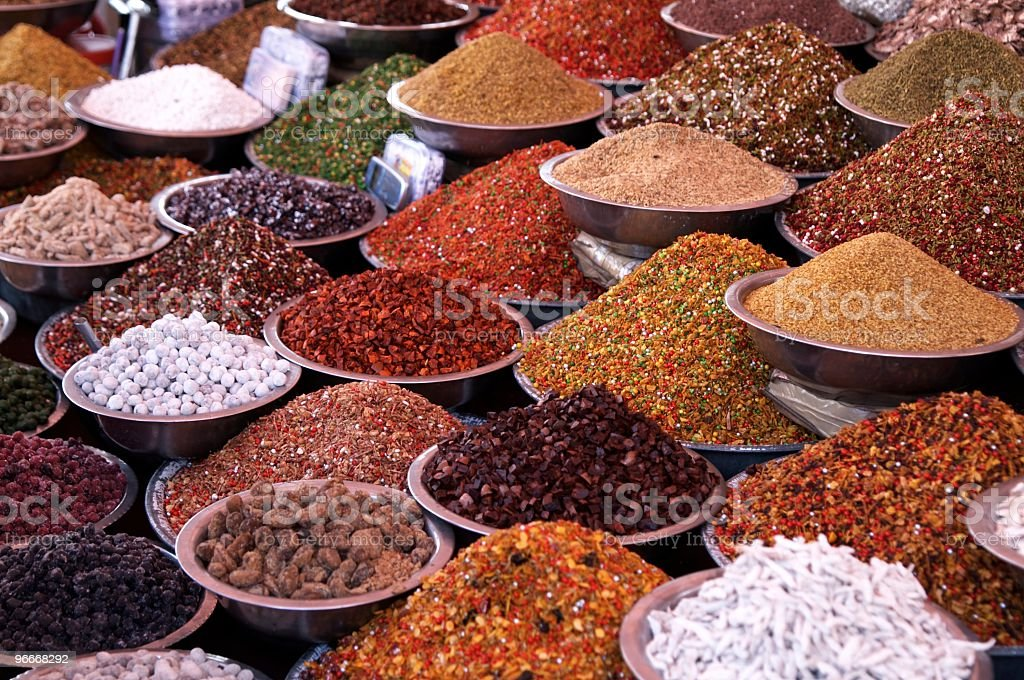 Markets Stall Selling Ingredients stock photo