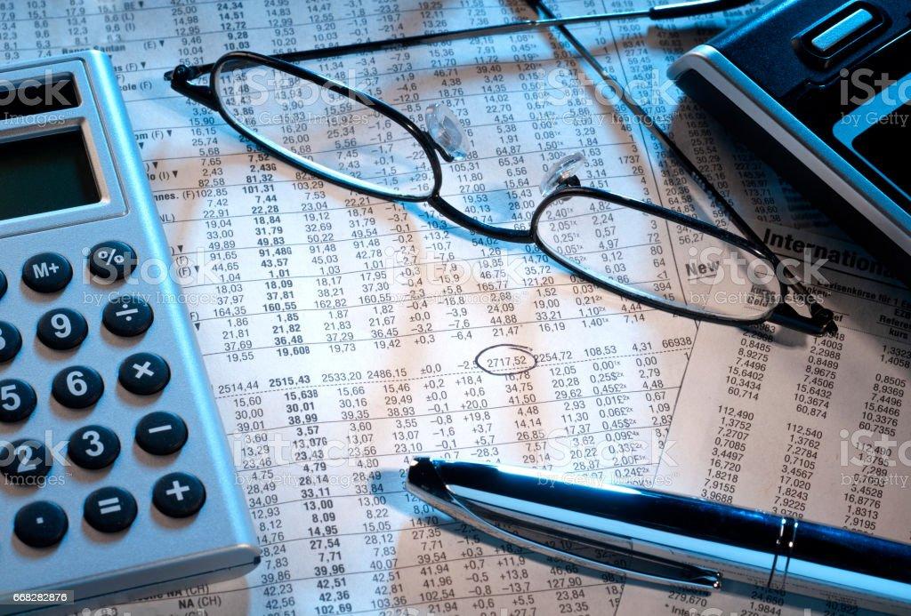 Markierter Aktienkurs stock photo