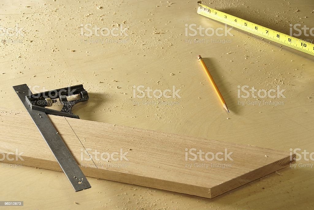 Marking Miter Cuts royalty-free stock photo