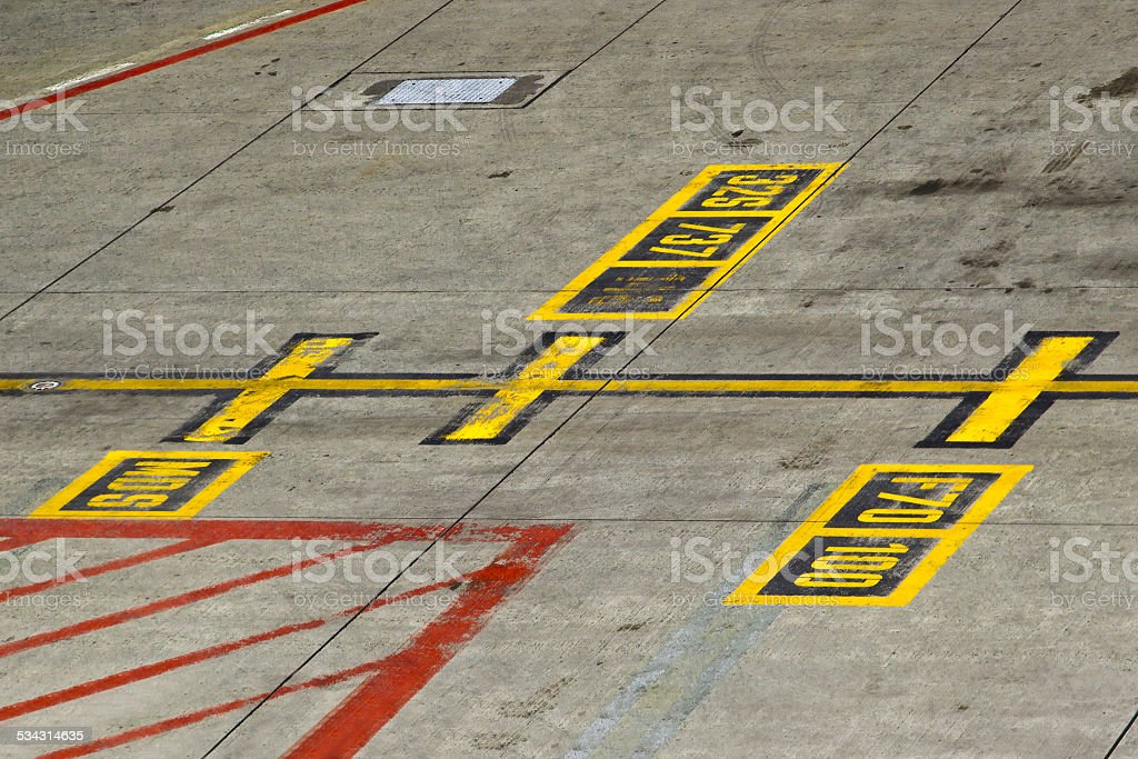 Marking on taxiway stock photo