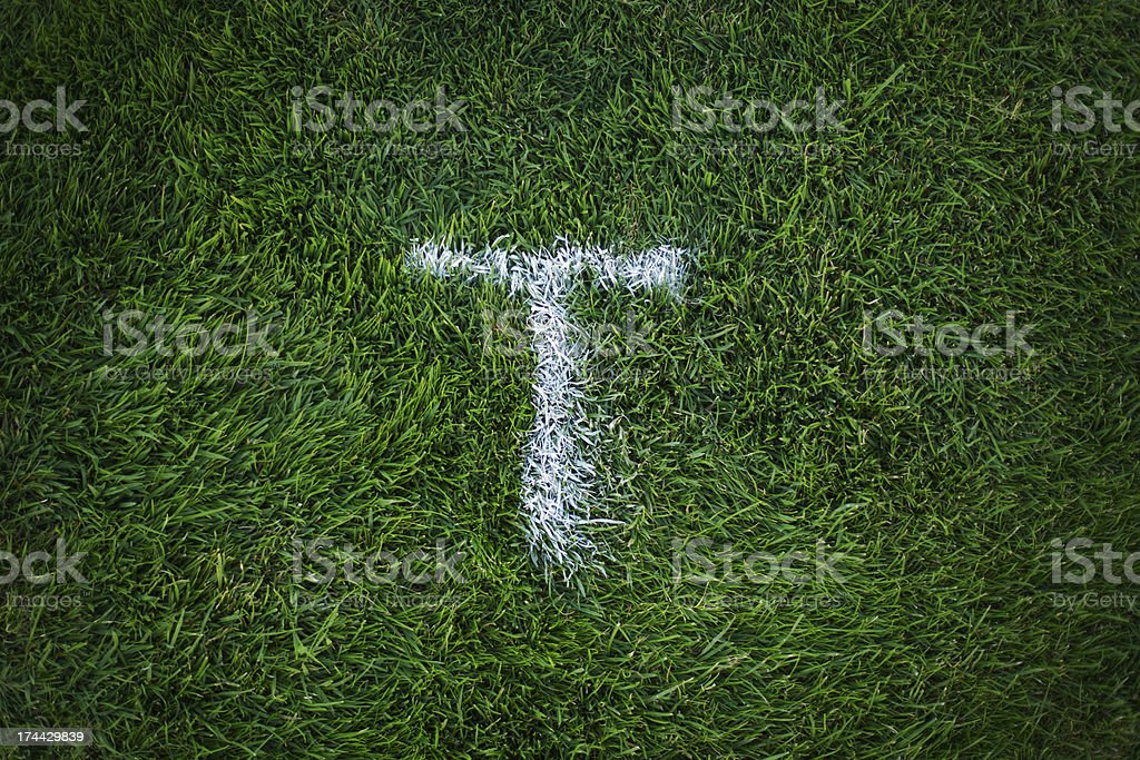 Marking on the grass stock photo