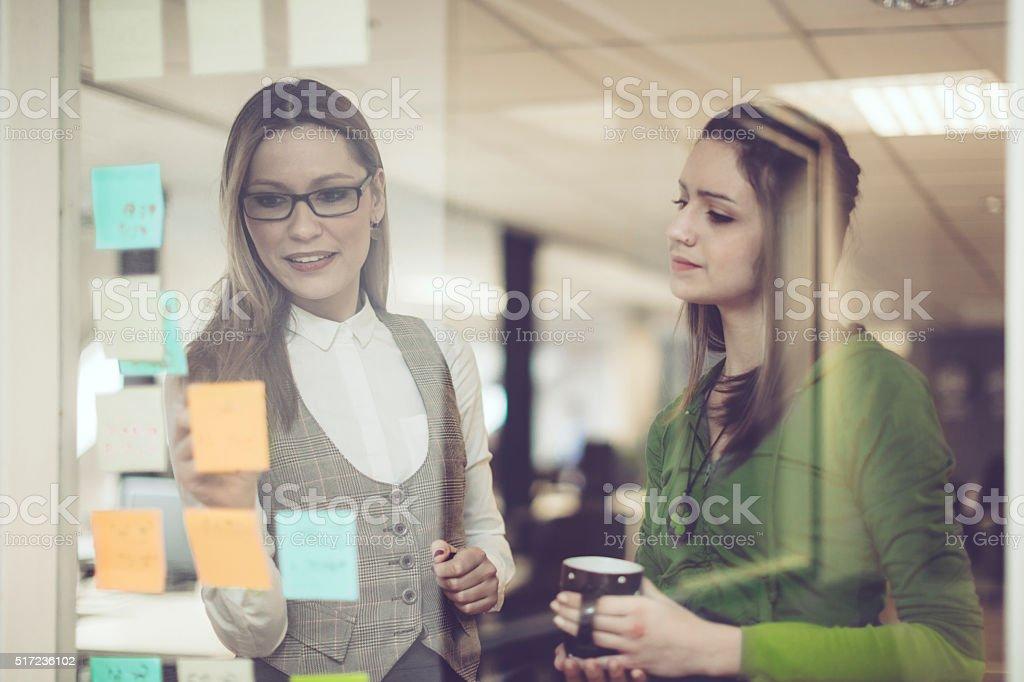 Marking progress of tasks stock photo