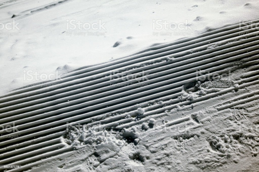 Marks on the snow covered landscape stock photo