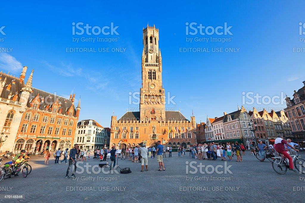 Markt place (Market square) of Bruges, Belgium stock photo