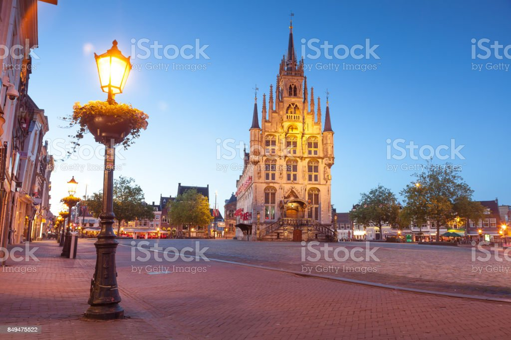 Markt square, Gouda, South Holland stock photo