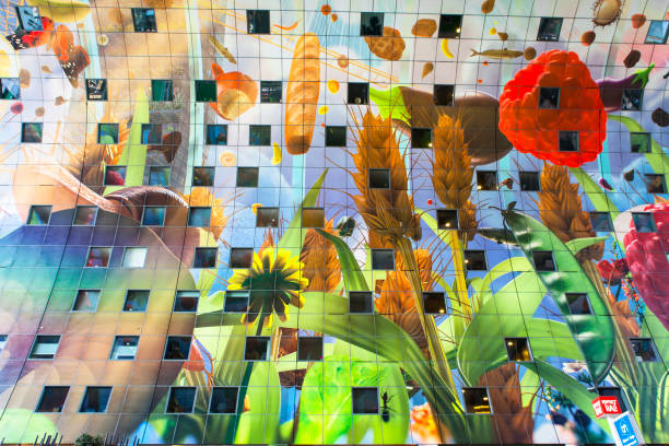 Markthal detail, Rotterdam The Markthal is a residential and office building with a market hall underneath, located in Rotterdam. market hall stock pictures, royalty-free photos & images