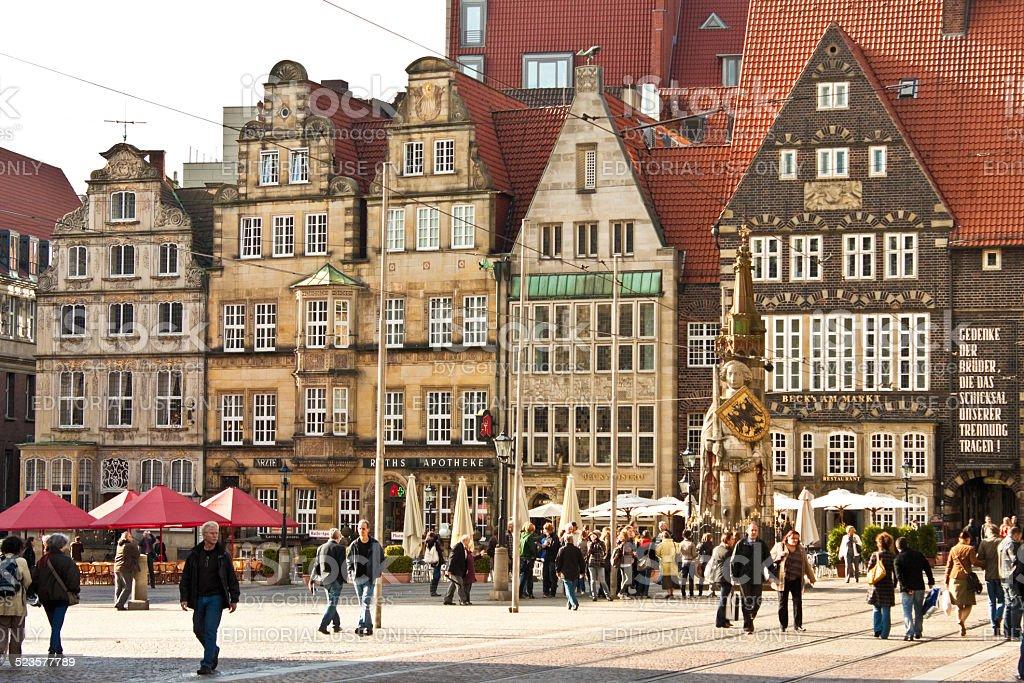 Marktplatz (Market square) in Bremen, Germany stock photo