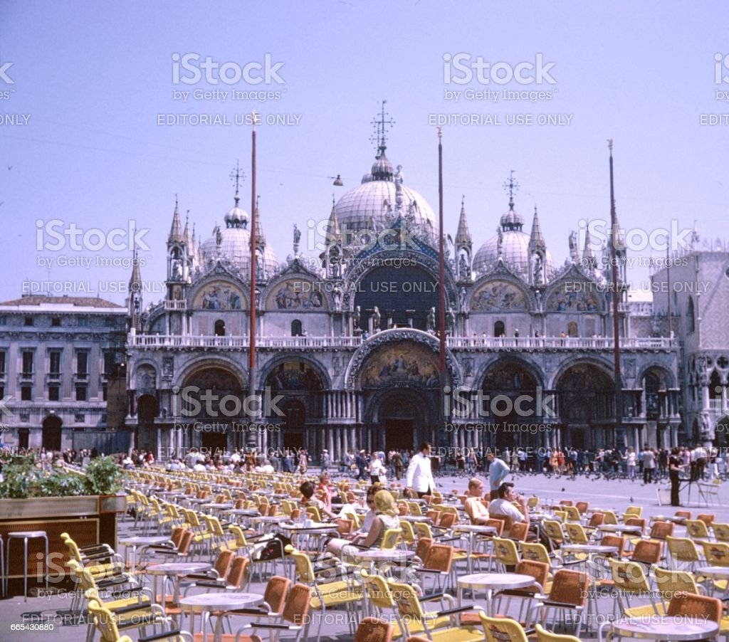 Markus church (Basilica di San Marco) at Marcus Square, Venice, 1969 stock photo