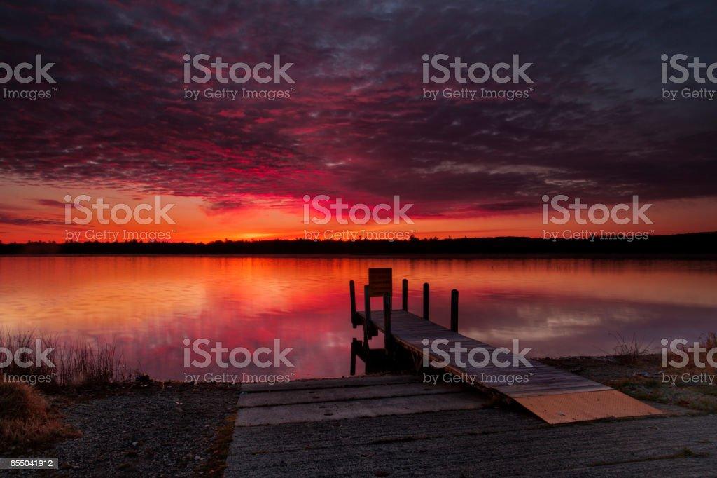 Marl Lake sunrise stock photo