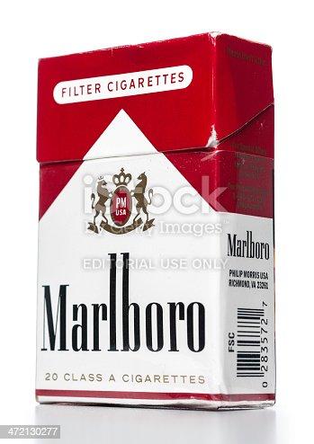 Miami, USA - December 17, 2013: Marlboro 20 class A cigarettes box. Marlboro brand is owned by Philip Morris USA Inc.