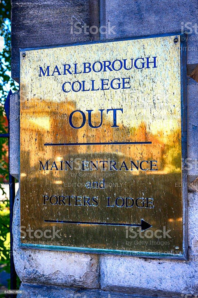 Marlborough College brass sign, UK stock photo