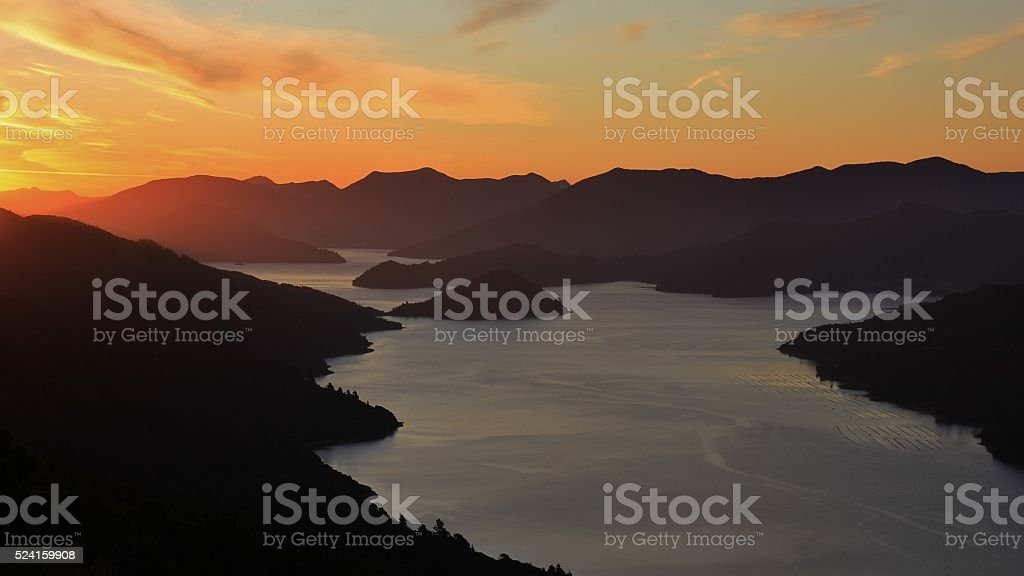 Marlborough sounds at sunset stock photo