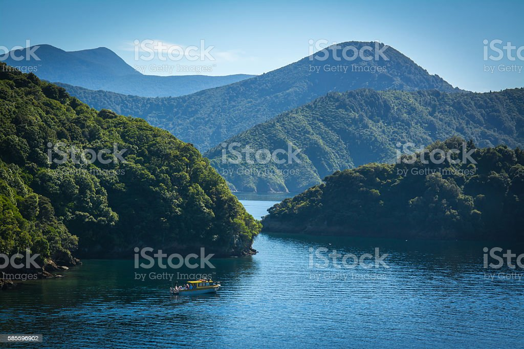 Marlborough Sounds seen from ferry from Wellington to Picton stock photo