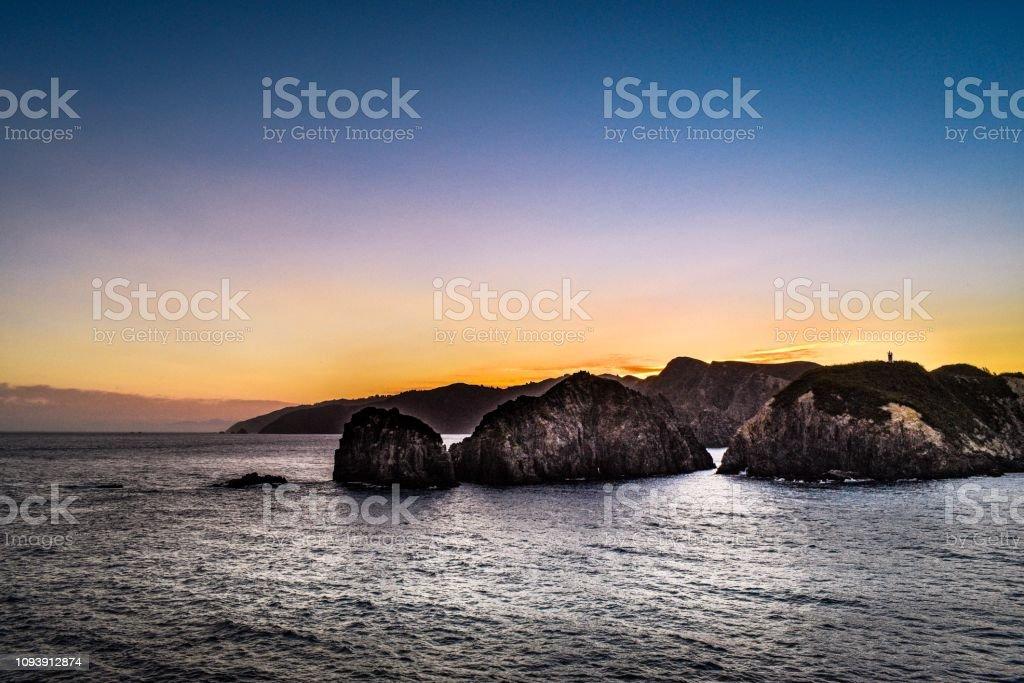 Marlborough Sounds sunset, New Zealand stock photo